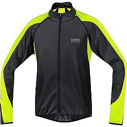 Gore Bike Wear Phantom 2.0 Windstopper Soft Shell - Chaqueta para Hombre, Color Negro/Amarillo neón, Talla L