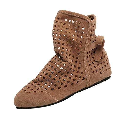Botines Altos de Plano para Mujer Otoño Verano 2018 PAOLIAN Botas Hueco Terciopelo Suela Blanda Martin Casual Zapatos de Señora Moda Calzado de Cuero Nobuk Dama Talla Grande