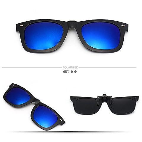 Mirror Polarized Clip-on Flip up Plastic Sunglasses Lenses Cool Dark Blue Ray Ban Clip on Sunglasses Clips for Eyeglasses Men and Women Use