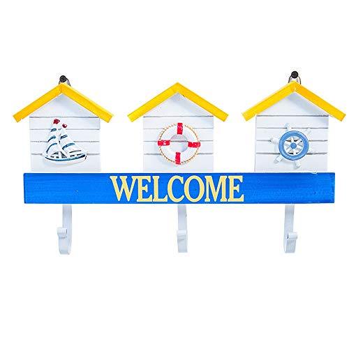 Vintage Rustikaler Briefkasten Wandmontage Briefkasten Eingang Willkommen Schild Holz Garderobe Türhaken Kreativ mediterraner Stil Wanddekoration Home Dekoration, MDF, a, Einheitsgröße