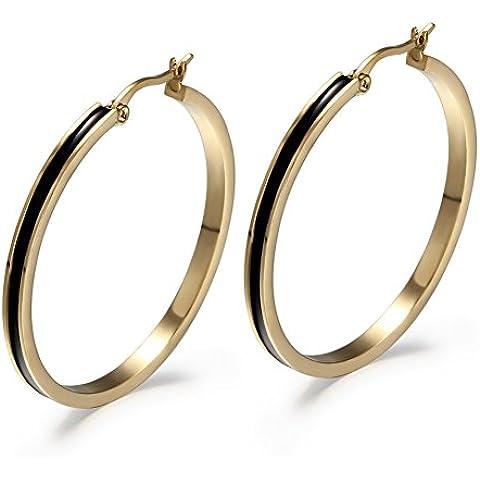Pendientes de aro grandes, con centro negro, de acero inoxidable, bañado en dos tonos de oro