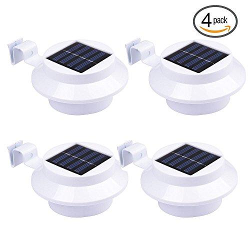 Kabellos Licht Solar LED Powered Lichtsteuerung Outdoor Zaun-Licht und Wandleuchte Weiß (4 Stück)
