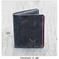 kleine & kompakte blaue mini Männer Heritage Geldbörse MONO aus bestem Leder, handgenäht & metallfrei - HAEUTE made in Germany