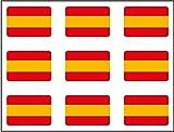 Pegatina Bandera Rectángulo 9 uds. España 16x11 mm/ud.