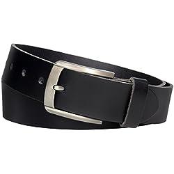 Vascavi ® Cinturón de cuero de piel, 4 cm de ancho y aprox. 0,3 cm de grosor, cuero auténtico, Made in Germany, para hombres y mujeres #4-0023 (95 cm Longitud total 110 cm, Negro)