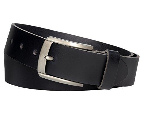 Vascavi ® Schwarzer Ledergürtel aus Rindleder, 4 cm breit und ca. 3-4mm stark, kürzbar, echt Leder, Made in Germany, für Damen und Herren #4-0008 (110 cm Gesamtlänge 125 cm)