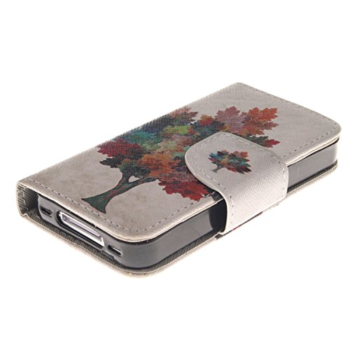 MOONCASE iPhone 4/4S Coque, Printing Series Case Étui en Cuir Portefeuille Housse de Protection Etui à rabat Cover pour Apple iPhone 4 / 4S TX04 TX14 #0401