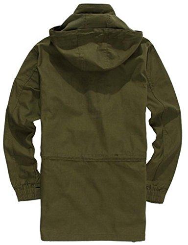 JZWXX Hommes De Sport à Capuche Cargo Style Militaire Manteau Veste FR302 Armee-Grün