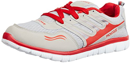 Provogue Men's Grey and Red Mesh Running Shoes - 6 UK