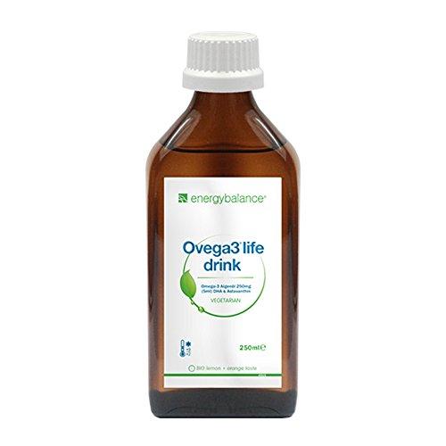 Ovega3 life drink DHA Algenöl mit Limonengeschmack und Astaxanthin