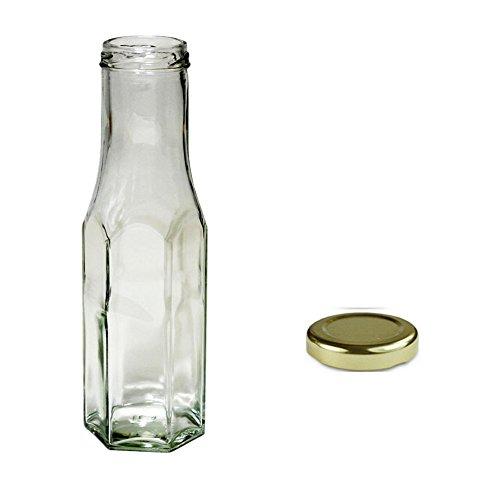 2x 250ml klar Sechskant Sauce Flaschen mit Gold Schraube Gap -