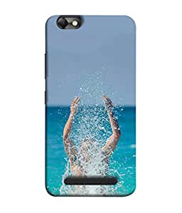 Fuson Designer Back Case Cover for Lenovo Vibe C :: Lenovo A2020 (Swimming Diving Rafting Surfing Ocean )