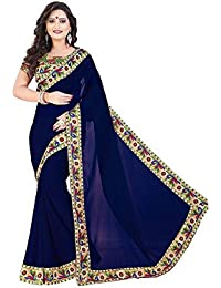New Designer Saree Shop Women's Georgette Saree With Blouse Piece (Navy Blue, Free Size)