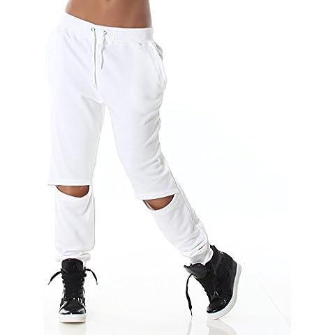 Donna pantaloni da jogging con apertura alla moda, elegante sul ginocchio, Conclusione in vita e orlo a costine, disponibile in 3colori e taglie, bianco, 40 bis 42