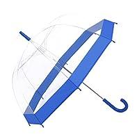 Paraguas Rainbrace-Transparente Burbuja, Apertura Automático, Cúpula Claro Elegante con Borde de Color Azul