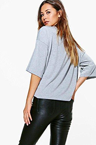 Noir Femmes Elicia T-shirt Ras Du Cou À Décolleté Extrêmement Plongeant Noir