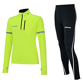 Airtracks Winter Funktions Laufset/Thermo Laufhose Lang Airtech Schwarz Silber + Thermo Shirt Langarm Neon - M