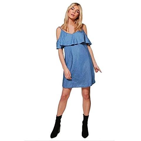 """DOLDOA Frauen aus Schulter Mini Kleid Damen Cowboy Kleid (EU: 44 Fehlschlag: 102cm / 40.2 """", Dunkelblau)"""