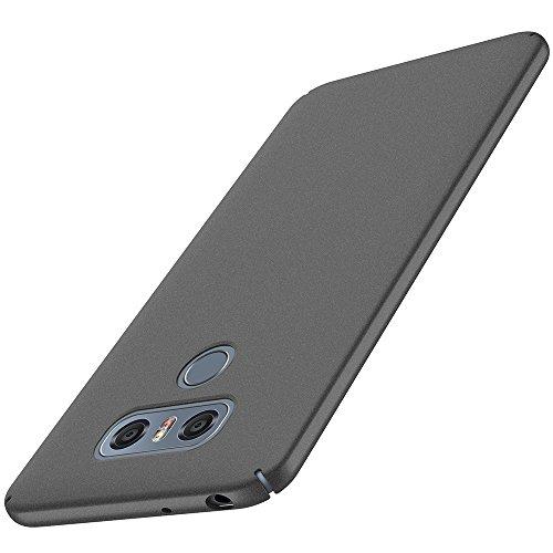 anccer LG G6 Hülle, [Serie Matte] Elastische Schockabsorption & Ultra Thin Design für LG G6 (Serie Matte, Kies Schwarz)