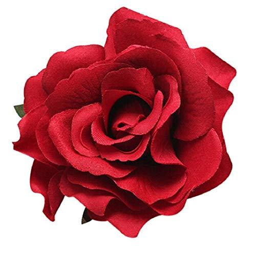 Premium-Qualität Frauen süße große Rosenblüte Blume Haarnadel Geschenk Hochzeit Braut Haarspange Brosche rot Carry stone