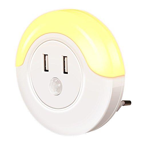 Led ambra luce notturna,movimento attivato luce notturna, caricatore usb a 2 porte, luce emotionlite, sensore di movimento, sensore luminosità, 5v 2a, auto/on / off, 2200k