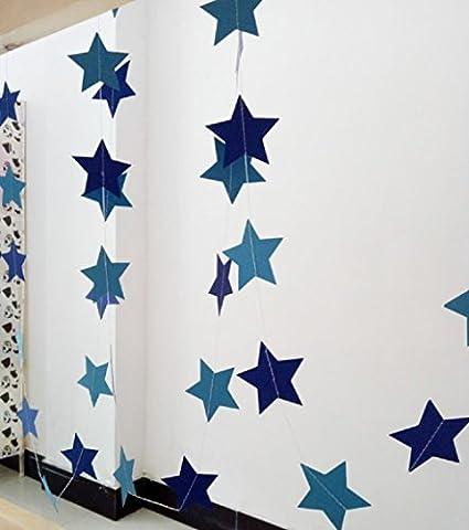 hangnuo 4M ¨¦toiles guirlande en papier pour mariage anniversaire f¨ºte No?l filles Chambre D¨¦coration, Papier, bleu, Large Stars