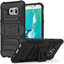 Galaxy S6 Edge+ Plus Funda - MoKo [Heavy Duty] Full Body Rugged Holster Cover with Swivel Belt Clip para Samsung Galaxy S6 Edge + 2015 Smartphone, Negro (Will Not Fit Galaxy S6 edge)