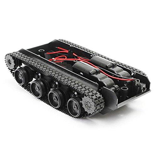 Wokee Kunststoff Robot Tank,Spannung 3-7V Tankwagen Chassis Smart Auto Plattform Kit Gummiketten Crawler für Arduino 130 Motor -