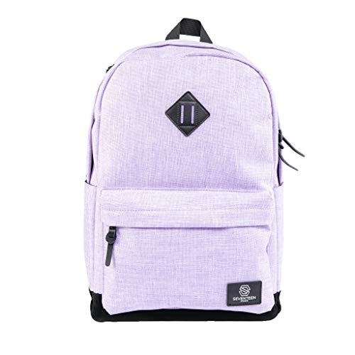 """Seventeen london – zaino moderno, semplice e unisex in lilla con una base di camoscio finto nero nello stile di uno zainetto di scuola – perfetto per un laptop da massimo 15,6"""""""