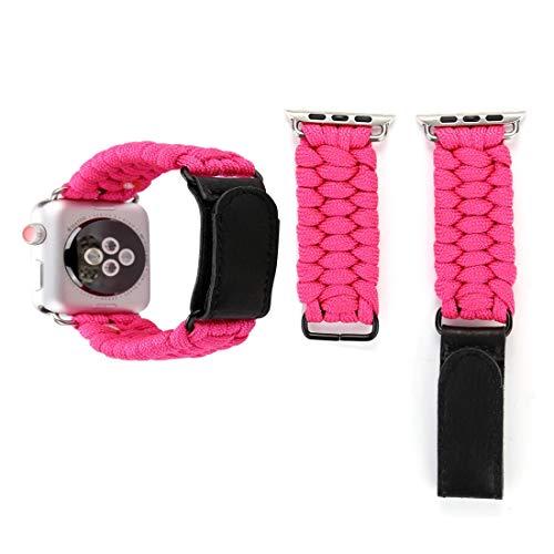 GARMOL Kompatibel mit Apple Watch Serie 3 & 2 & 1 42mm Magic Paste Echtes Leder Regenschirm Seil Nylon Armbanduhr Band mit Edelstahlschnalle (Schwarz) (Color : Magenta) Magenta Magic