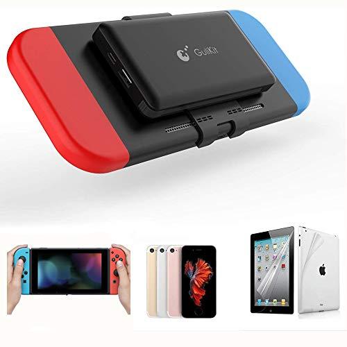 Dazzne GULIKIT Battery Backup Power Bank Kompatibel mit Nintendo Switch, 10000mAh Akku für Akku mit Kabel Typ C Kompatibel mit Nintendo Switch iPad und Telefone