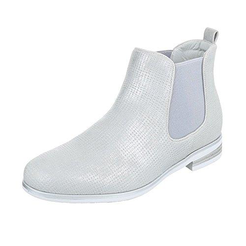 Chelsea Boots Damenschuhe Chelsea Boots Blockabsatz Blockabsatz Ital-Design Stiefeletten Silber