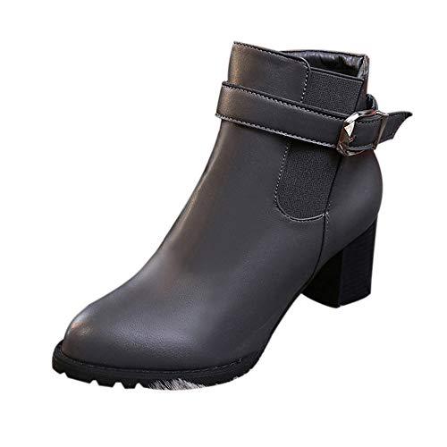 ❤️ Botas Mujer tacón Alto, Mujer Otoño Invierno Botas Cortas Zapatos de tacón Alto Martin Botas Botines Zapatos Absolute