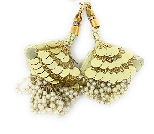 Inhika Set of 2 Latkan Hanging for Blouse Lehenga and Saree, Fancy Designer Decorative Ethnic Tassle Design of Long Beautiful Big Sequins n Pearl Bunch in Colour Gold, Off White