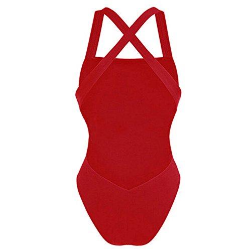 Damen Sexy Badeanzüge Monokini Swimsuits One Piece Backless Bikini S M L XL XXL Schwarz / Weiß / Rote ---CROSS1946 Rot