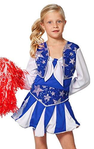 narrenkiste W3182-B-152 blau-weiß Kinder Mädchen Cheerleader Tänzer Trikot -