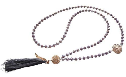 Orientalischer Touch: Lange lila-graue Glaskette mit Glitzer-Kugel, gold-farbenem Ornament und grauer Quaste