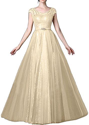 Gorgeous Bride Scheind Abendmode Lang Elegant Paillette Tüll A-Linie Abendkleider Lang Festkleider Ballkleider Champagner