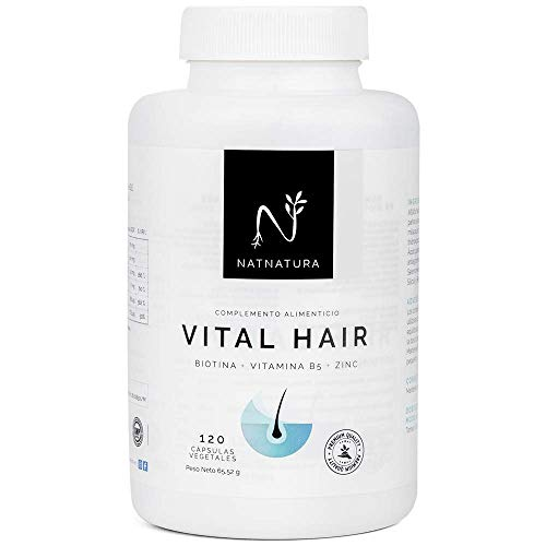 VITAL HAIR.Complemento alimenticio a base de vitaminas y minerales (Biotina, Zinc, vitamina B5 y Mijo) para fortalecer y frenar la caída del cabello y reforzar uñas y piel. 120 cápsulas vegetales.