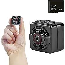 Mini Cámara de mano Espía HD 1080P PC Sport Interiores/Exteriores, Mini cámara escondida con la tarjeta de memoria de 8 GB, grabador de voz y video con visión nocturna infrarroja.