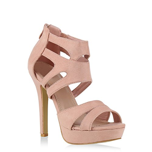 Damen Sandaletten Plateau Sandaletten Strass Stiletto Cut-Outs Party High Heels Lack Party Leder-Optik Schuhe 128721 Rosa 39 Flandell