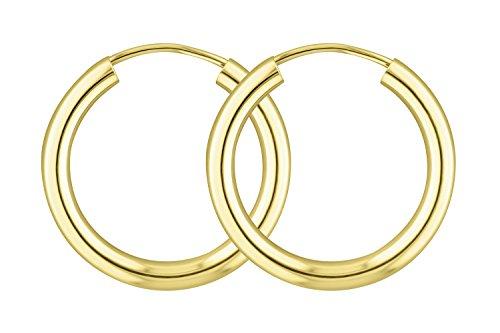 Ohrringe, Creolen, Gelbgold 585/14 K, Außendurchmesser 20 mm, Breite 2.5 mm, Gewicht ca. 1.2 g, NEU