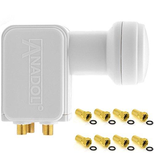 Anadol Gold Line Quattro LNB 4K für Multischalter / Multiswitch Sat Anlage 0.1dB 4fach FULL HD TV 3D 4K + Kontakte vergoldet + Wetterschutz (ausziehbar) im SET mit 4 F-Stecker vergoldet GRATIS