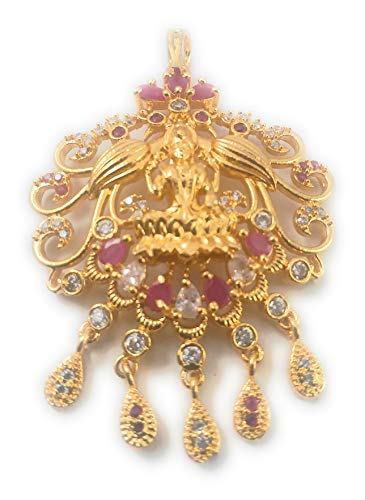 SUKRA GOLD 1 Gram Micro Gold Plated Fashion Jewellery South Indian Traditional Ruby Emerald AD Handcrafted Changeable Pendant Dollar for Women & Girls