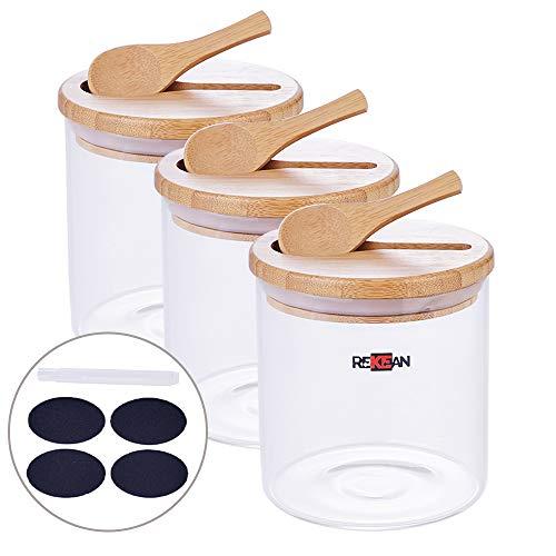 Rekean - set di 3 vasetti in vetro ermetico - cucchiaio in bambù intagliato nel coperchio - pratico e originale - 3x500ml + etichette riscrivibili gratuite
