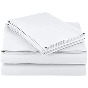AmazonBasics Microfiber Sheet Set - (Includes 1 bedsheet, 1 Fitted Sheet with Elastic, 2 Pillow Covers) King, Bright White