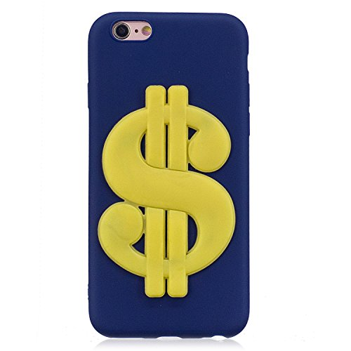Vandot morbida in silicone TPU flessibile gel Bella Soldi Dollaro Buck denti quarto di Cover Custodia Cover Custodia Case Cover Portafoglio coprire per iPhone 6/6s (4.7 pollici) Cute 3