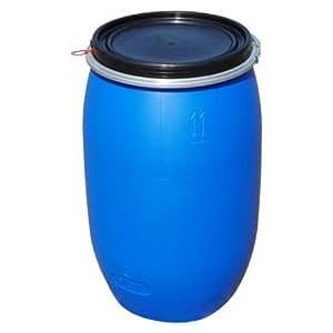 Fût alimentaire 120 litres, ouverture totale, baril polyéthylène bleu (22120)