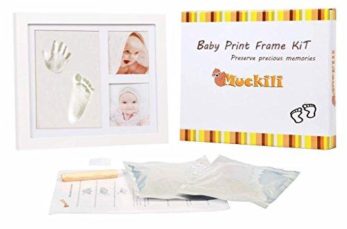 Muckili BABY BILDERRAHMEN SET für Handabdruck und Fußabdruck - hochwertiges Echtglas & Holz in weiß + 3D -Effekt - personalisiertes Geschenk für neugebore Babys - Baby Abdruck Bilderrahmen für Junge + Mädchen