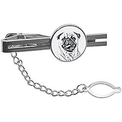 Doguillo, pasacorbatas, con imagen de un perro,carlino